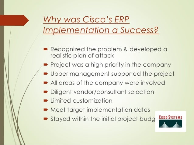 cisco erp Your cisco spark and sap erp should work hand in hand build a new recipe  connecting cisco spark and sap erp, or use existing recipes developed by the .