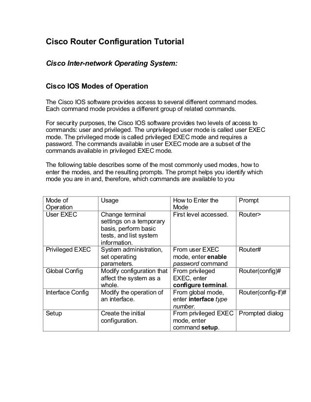 Cisco Router Configuration TutorialCisco Inter-network Operating System:Cisco IOS Modes of OperationThe Cisco IOS software...