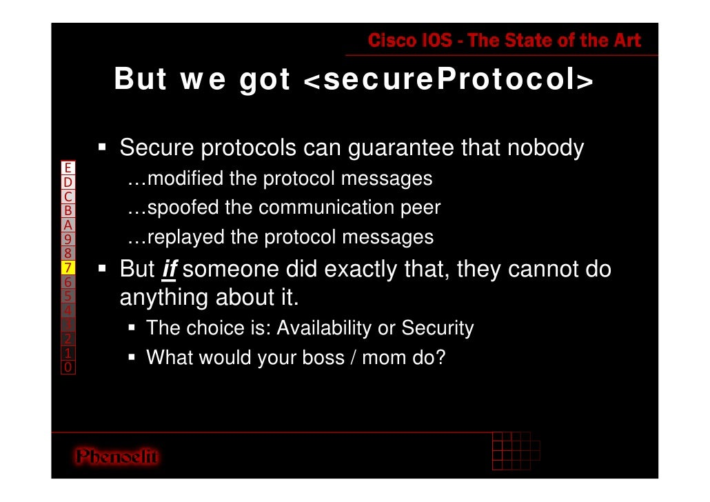 But we got <secureProtocol>      Secure protocols can guarantee that nobody E     …modified the protocol messages D C     ...
