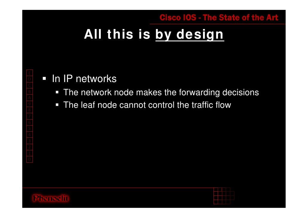 All this is by design  E     In IP networks D C       The network node makes the forwarding decisions B A       The leaf n...