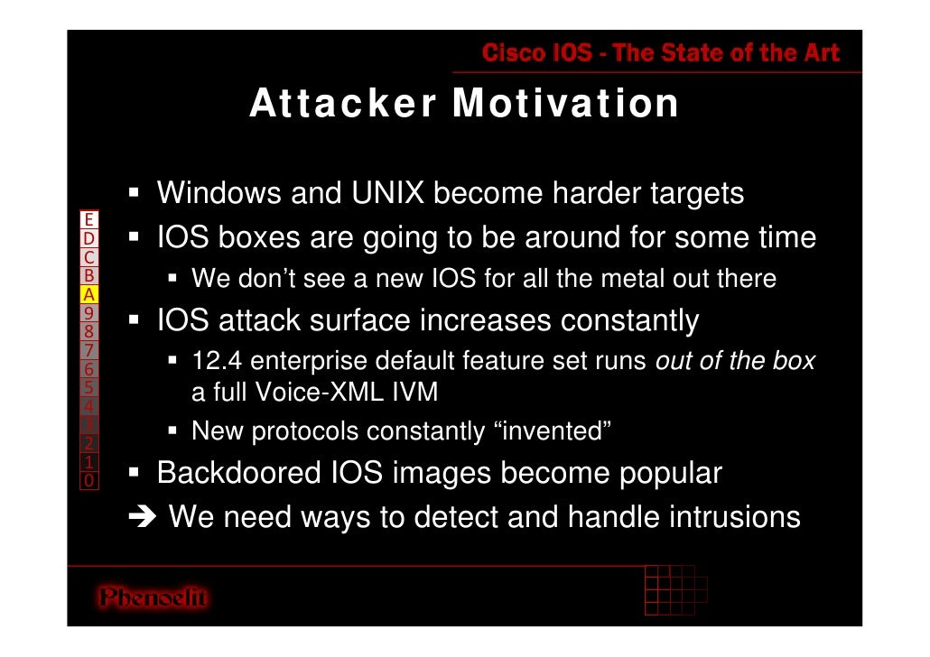 Attacker Motivation      Windows and UNIX become harder targets E     IOS boxes are going to be around for some time D C B...