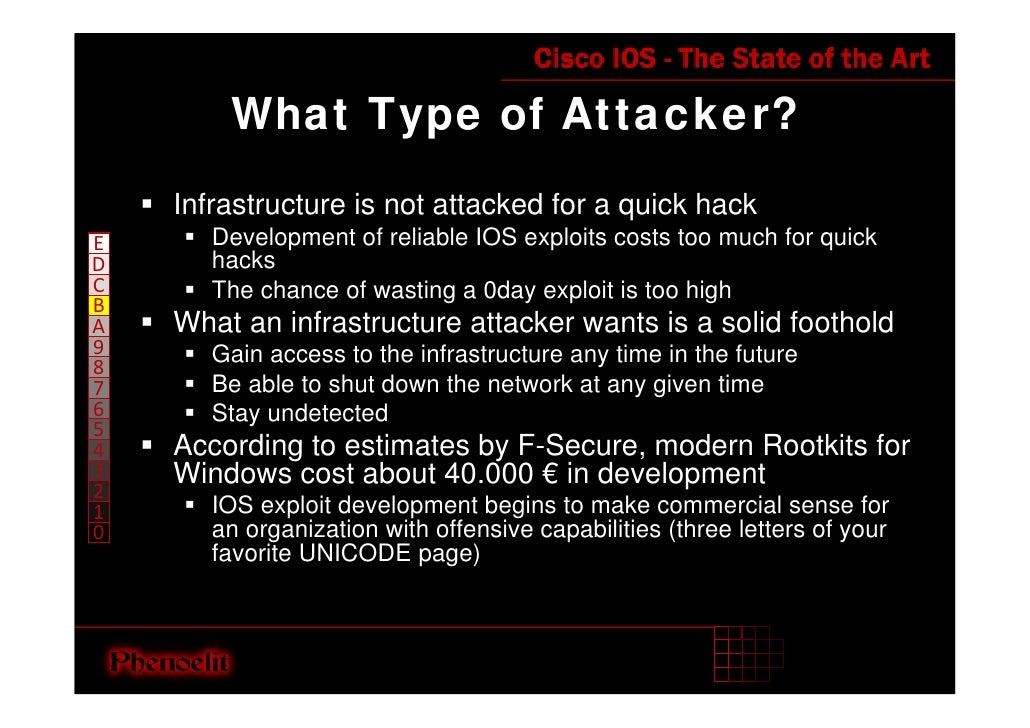 What Type of Attacker?     Infrastructure is not attacked for a quick hack        Development of reliable IOS exploits cos...