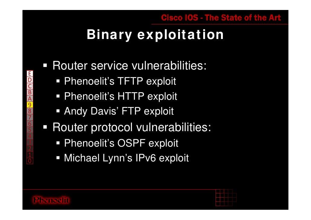Binary exploitation      Router service vulnerabilities: E D     Phenoelit's TFTP exploit C B       Phenoelit's HTTP explo...