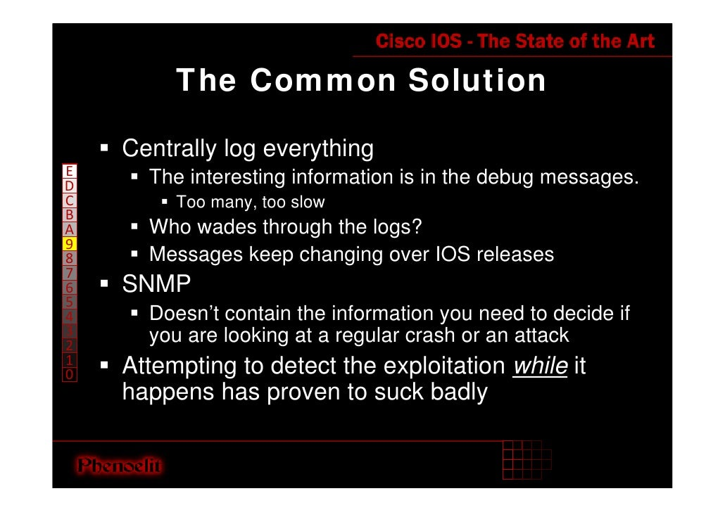 The Common Solution      Centrally log everything E       The interesting information is in the debug messages. D C       ...