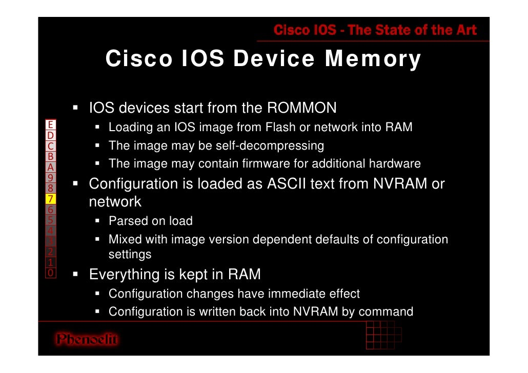Cisco IOS Device Memory      IOS devices start from the ROMMON E     Loading an IOS image from Flash or network into RAM D...