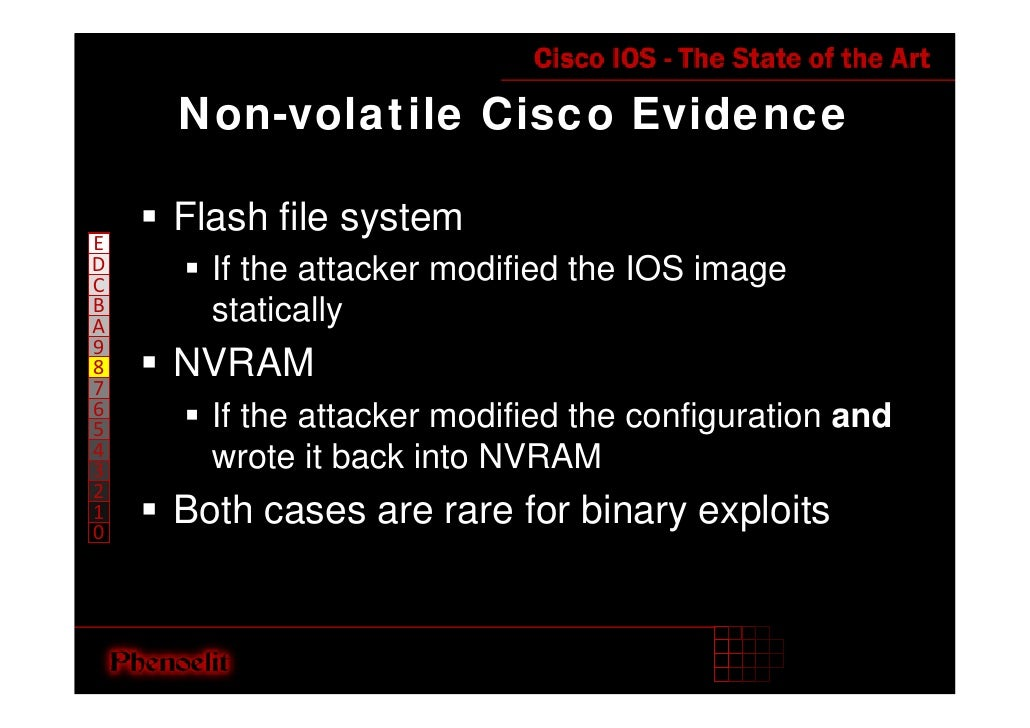 Non-volatile Cisco Evidence      Flash file system E D     If the attacker modified the IOS image C B     statically A 9  ...