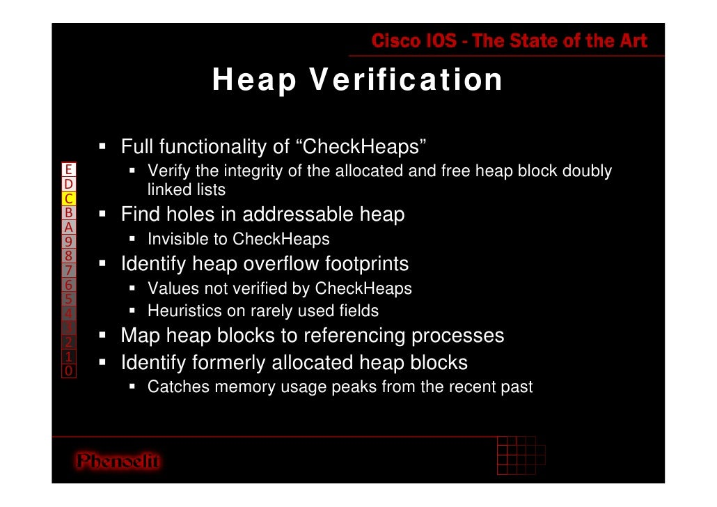 """Heap Verification      Full functionality of """"CheckHeaps""""        Verify the integrity of the allocated and free heap block..."""