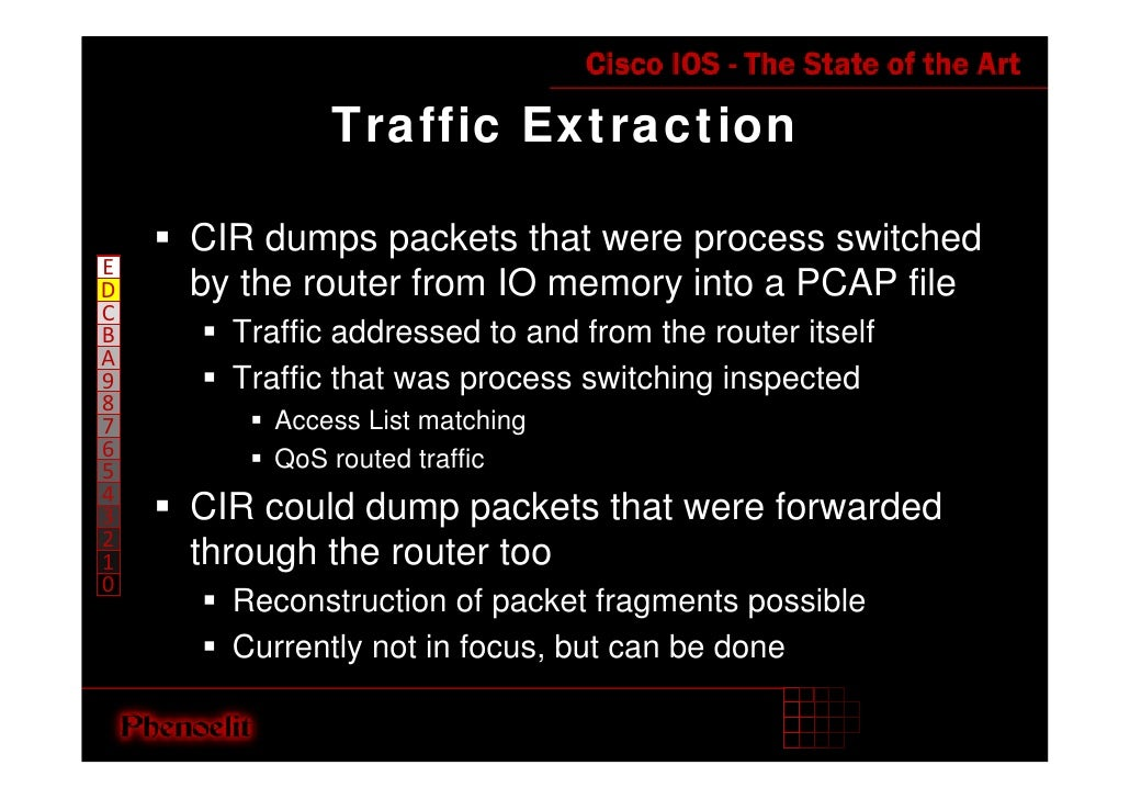 Traffic Extraction      CIR dumps packets that were process switched E     by the router from IO memory into a PCAP file D...