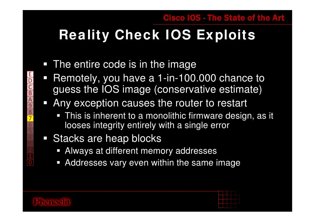 Reality Check IOS Exploits      The entire code is in the image E     Remotely, you have a 1-in-100.000 chance to D C     ...