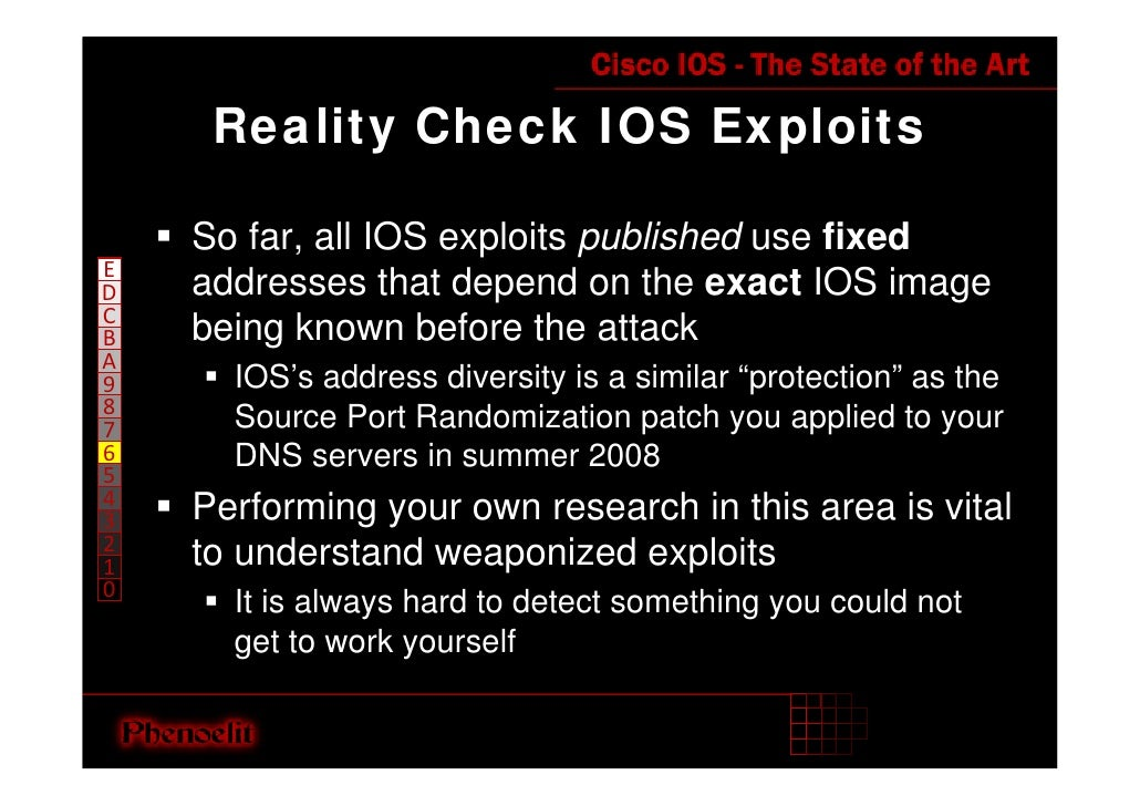Reality Check IOS Exploits      So far, all IOS exploits published use fixed E     addresses that depend on the exact IOS ...