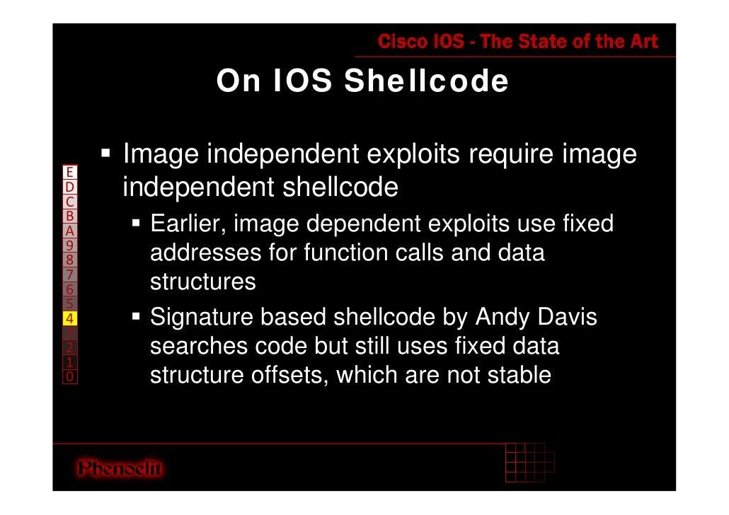 On IOS Shellcode      Image independent exploits require image E     independent shellcode D C B       Earlier, image depe...