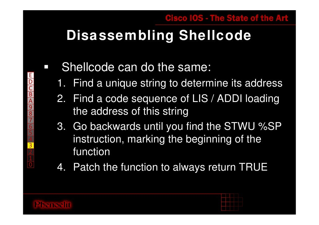 Disassembling Shellcode      Shellcode can do the same: E D   1. Find a unique string to determine its address C B     2. ...