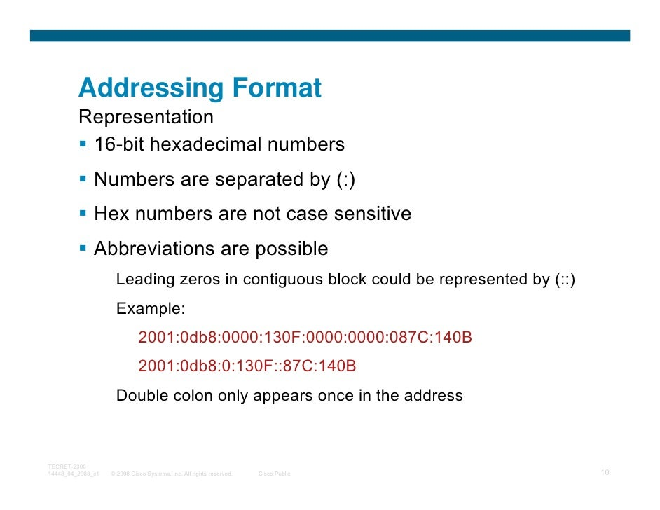 Addressing Format         Representation          16-bit hexadecimal numbers              Numbers are separated by (:)    ...