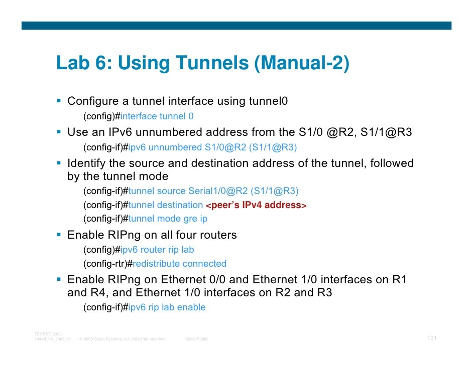 Lab 6: Using Tunnels (Manual-2)              Configure a tunnel interface using tunnel0                     (config)#inter...