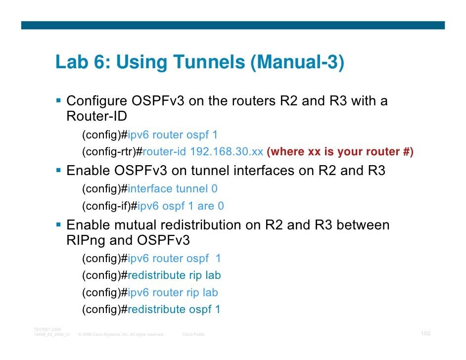 Lab 6: Using Tunnels (Manual-3)              Configure OSPFv3 on the routers R2 and R3 with a              Router-ID      ...
