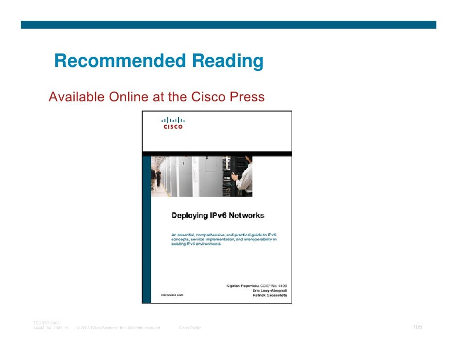 Recommended Reading      Available Online at the Cisco PressTECRST-230014448_04_2008_c1   © 2008 Cisco Systems, Inc. All r...