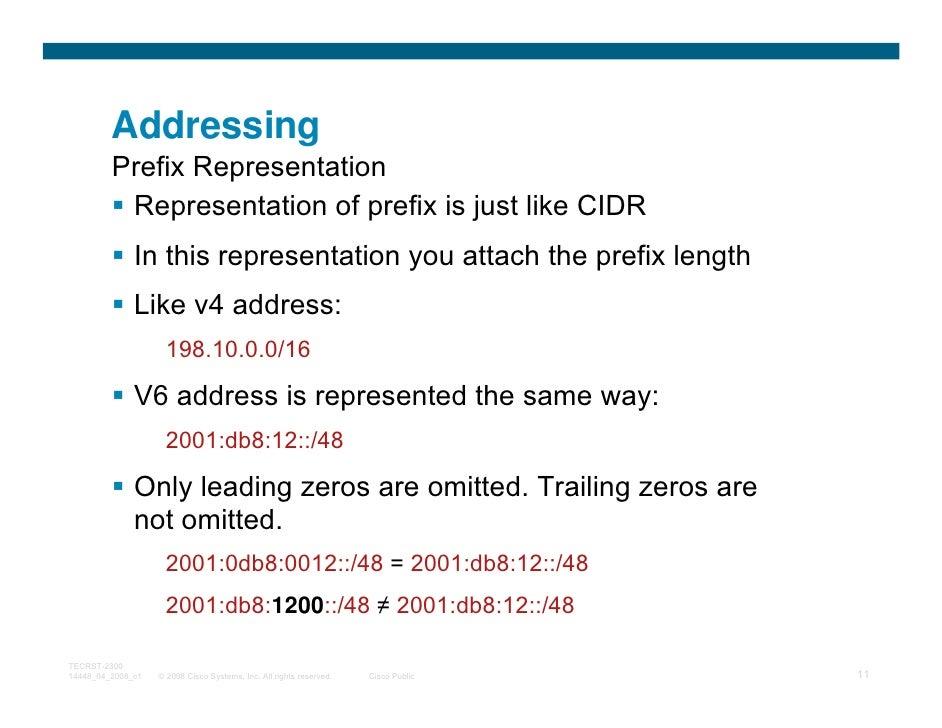 Addressing         Prefix Representation          Representation of prefix is just like CIDR              In this represen...