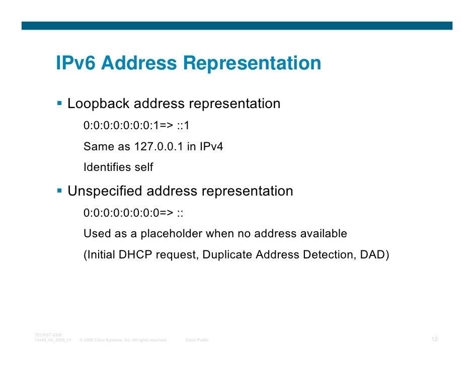 IPv6 Address Representation              Loopback address representation                     0:0:0:0:0:0:0:1=> ::1        ...