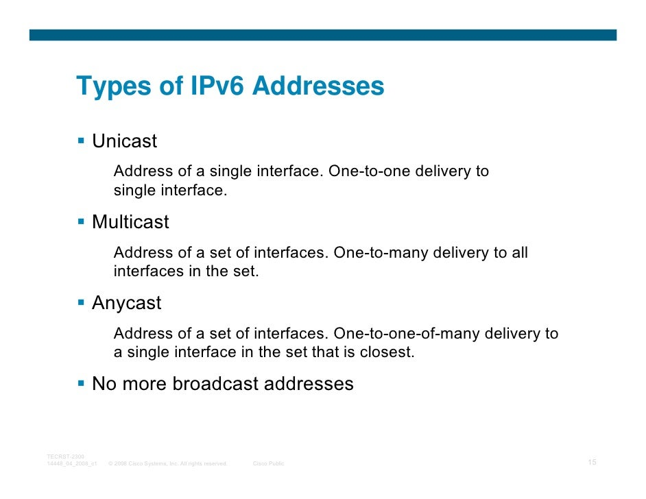 Types of IPv6 Addresses              Unicast                     Address of a single interface. One-to-one delivery to    ...