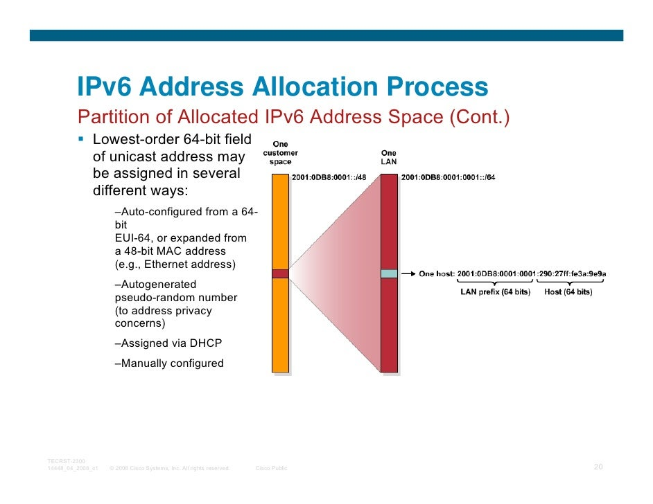 IPv6 Address Allocation Process         Partition of Allocated IPv6 Address Space (Cont.)              Lowest-order 64-bit...