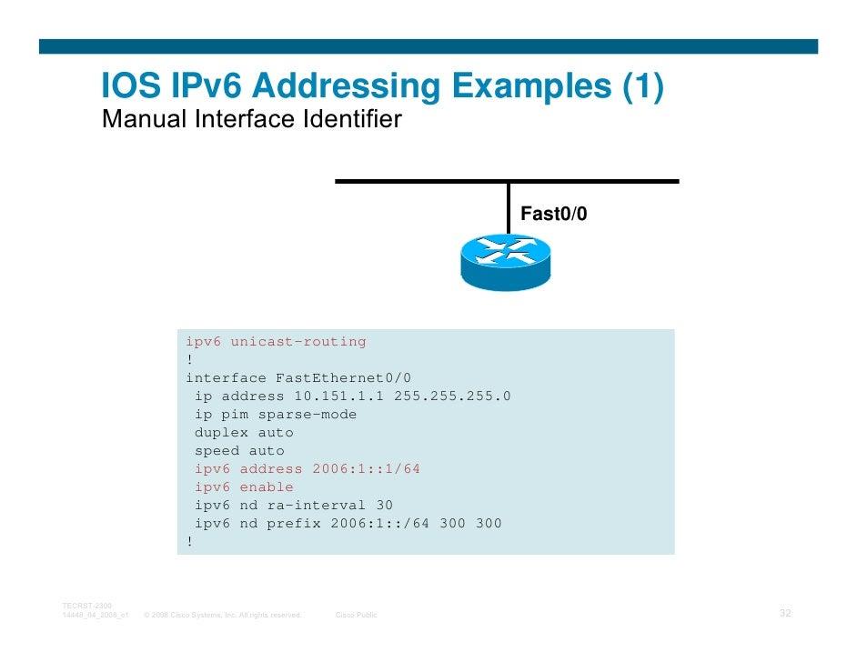 IOS IPv6 Addressing Examples (1)         Manual Interface Identifier                                                      ...