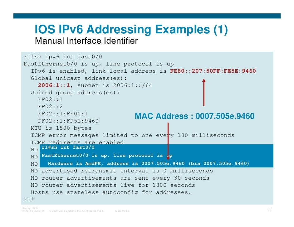 IOS IPv6 Addressing Examples (1)         Manual Interface Identifier r1#sh ipv6 int fast0/0 FastEthernet0/0 is up, line pr...