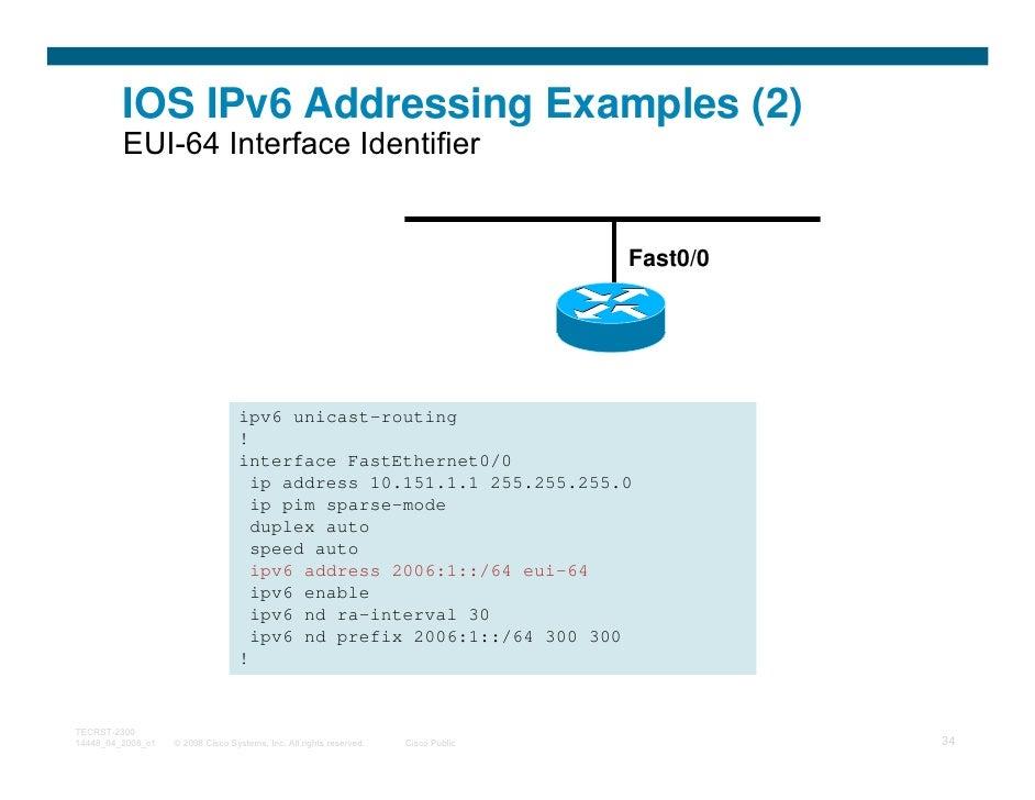 IOS IPv6 Addressing Examples (2)         EUI-64 Interface Identifier                                                      ...
