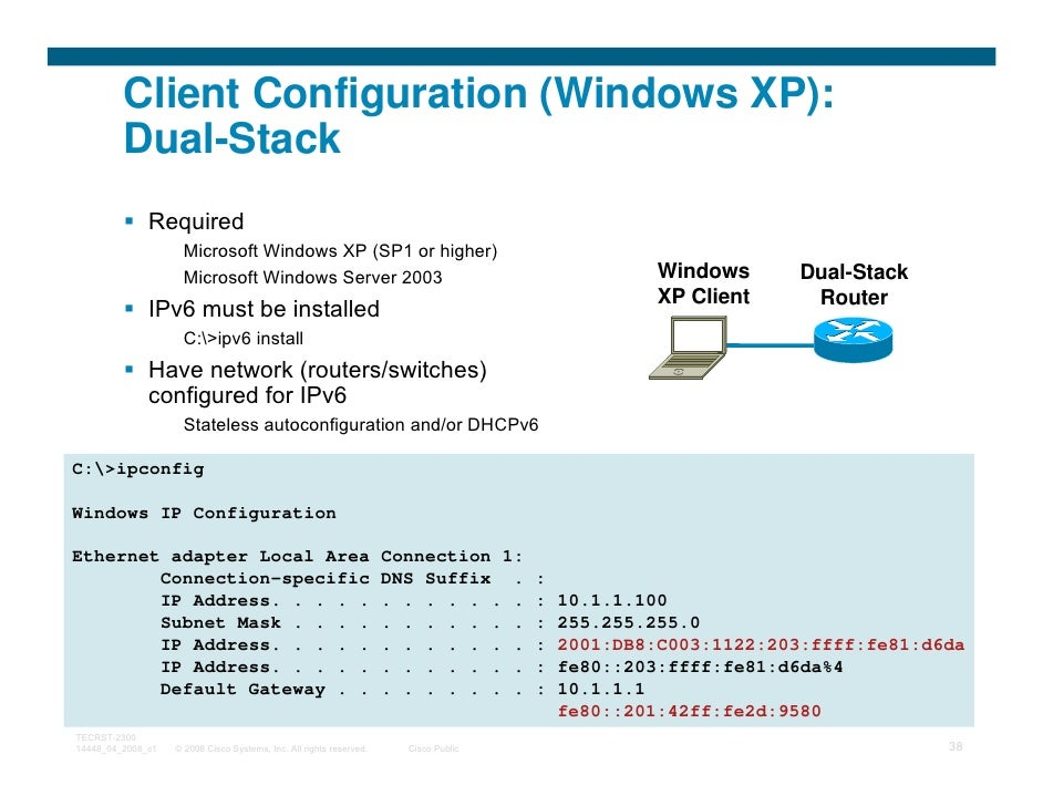 Client Configuration (Windows XP):         Dual-Stack              Required                     Microsoft Windows XP (SP1 ...