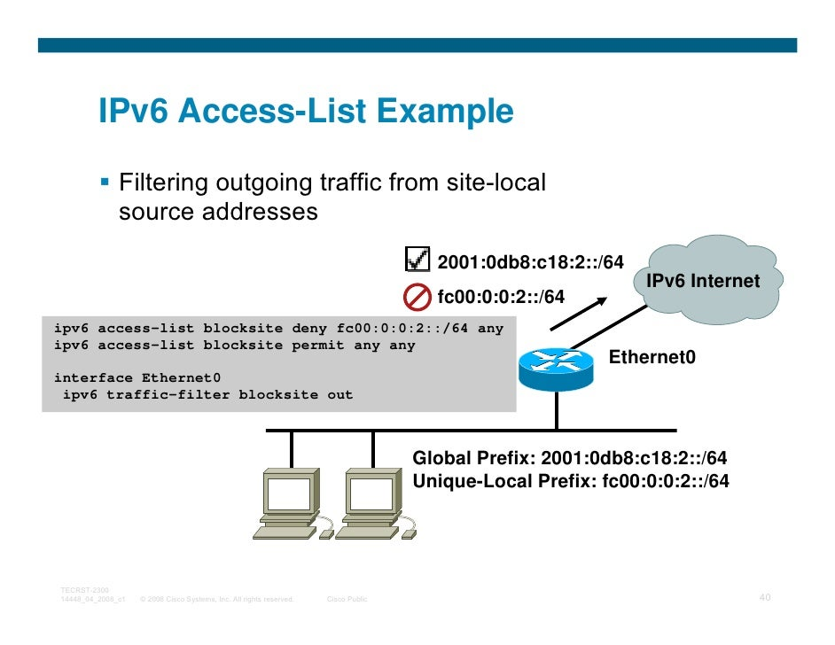 IPv6 Access-List Example              Filtering outgoing traffic from site-local              source addresses            ...