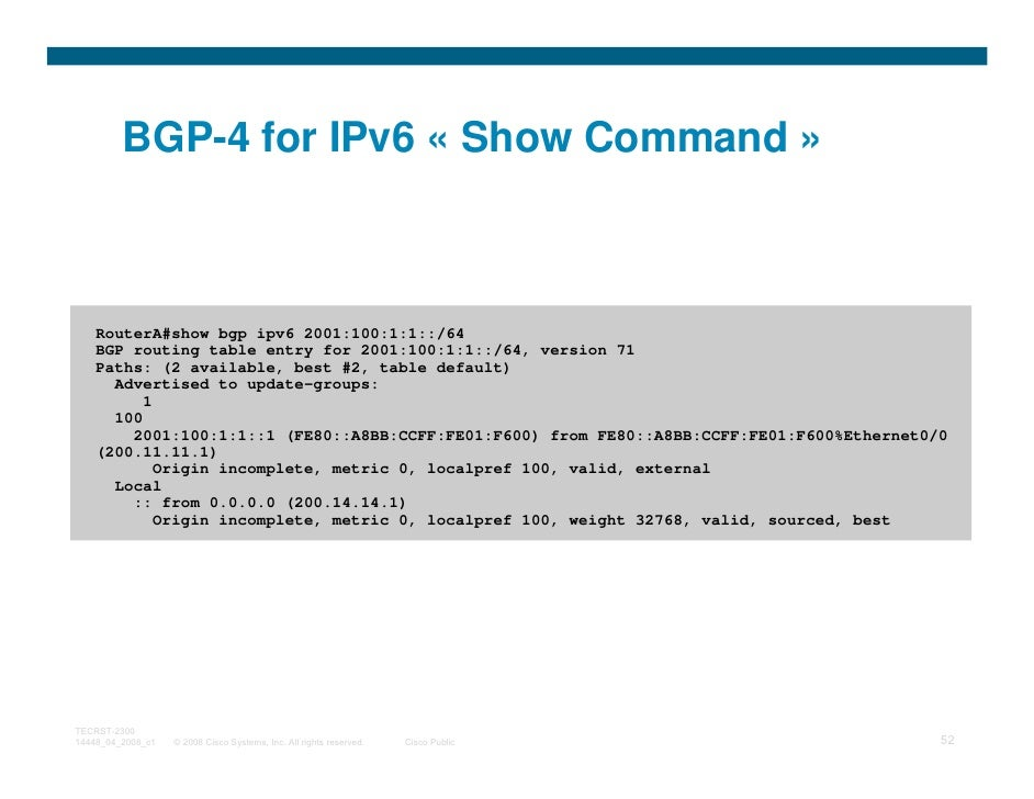 BGP-4 for IPv6 « Show Command »    RouterA#show bgp ipv6 2001:100:1:1::/64    BGP routing table entry for 2001:100:1:1::/6...