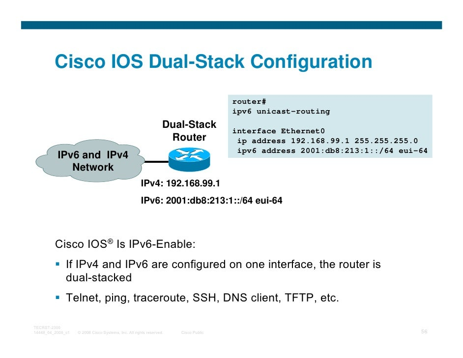 Cisco IOS Dual-Stack Configuration                                                                                    rout...