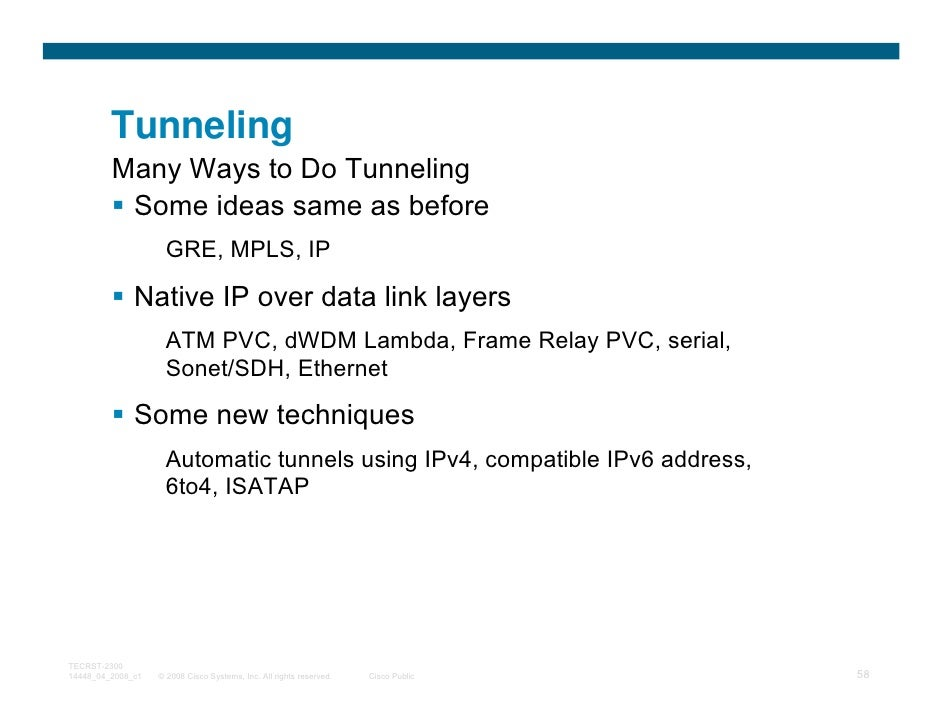 Tunneling         Many Ways to Do Tunneling          Some ideas same as before                     GRE, MPLS, IP          ...