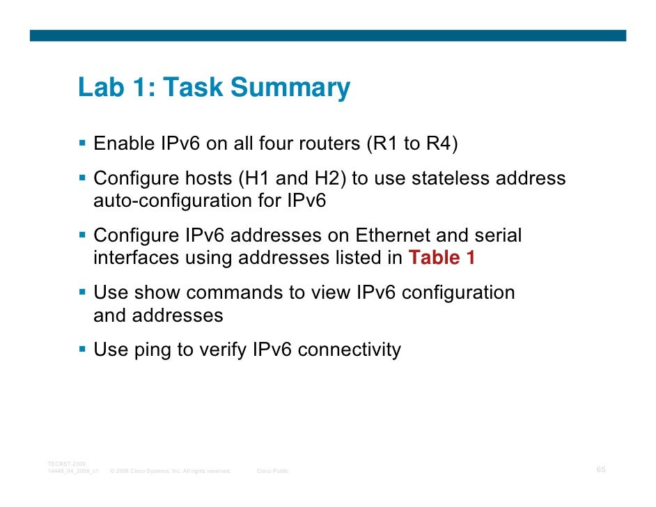Lab 1: Task Summary              Enable IPv6 on all four routers (R1 to R4)              Configure hosts (H1 and H2) to us...