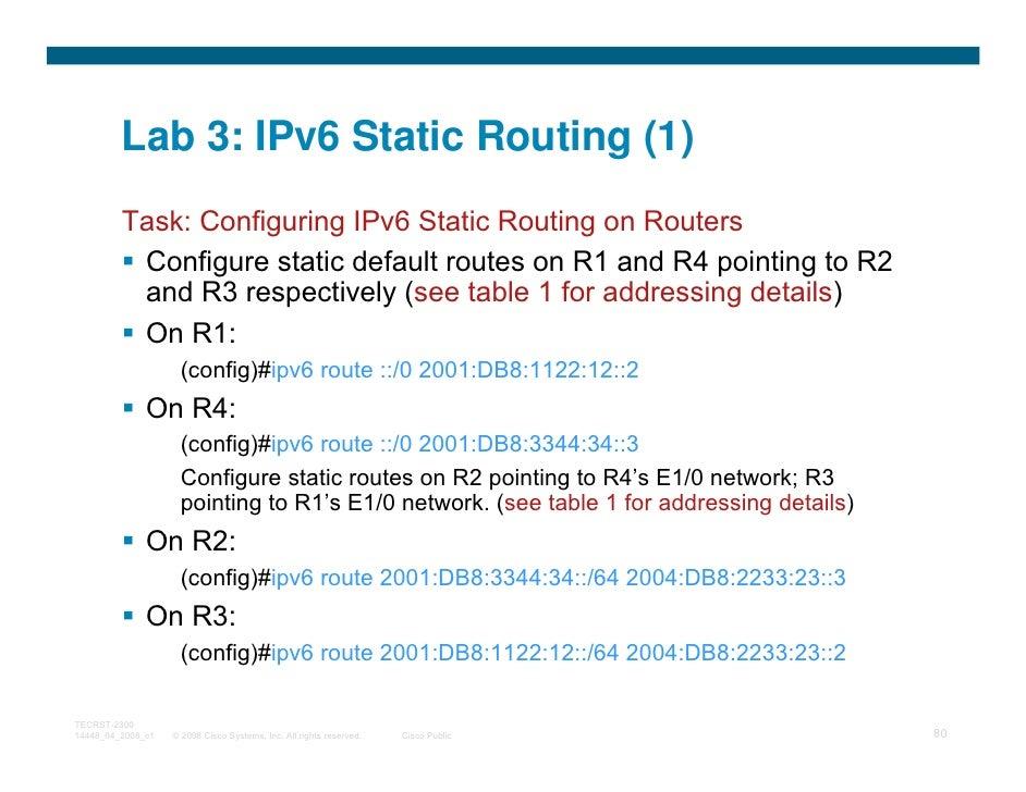 Lab 3: IPv6 Static Routing (1)         Task: Configuring IPv6 Static Routing on Routers          Configure static default ...