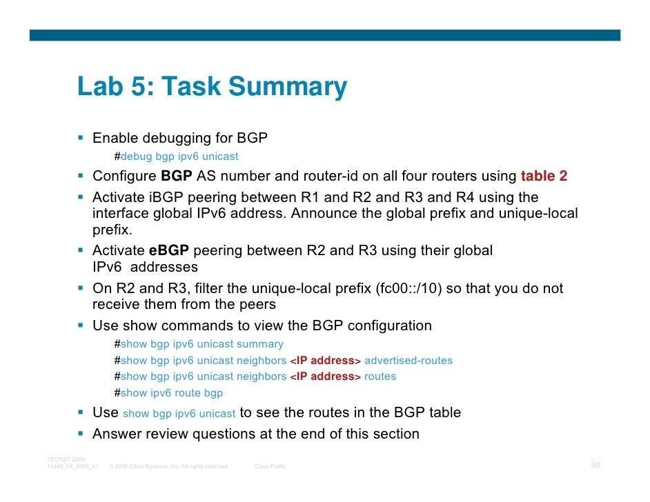 Lab 5: Task Summary              Enable debugging for BGP                     #debug bgp ipv6 unicast              Configu...
