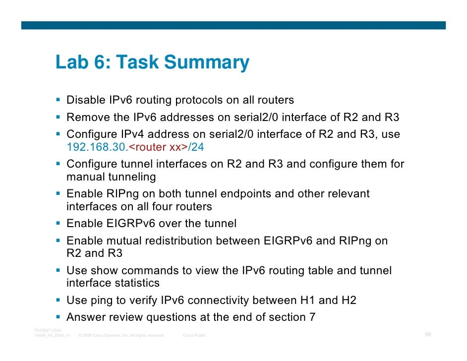 Lab 6: Task Summary              Disable IPv6 routing protocols on all routers              Remove the IPv6 addresses on s...