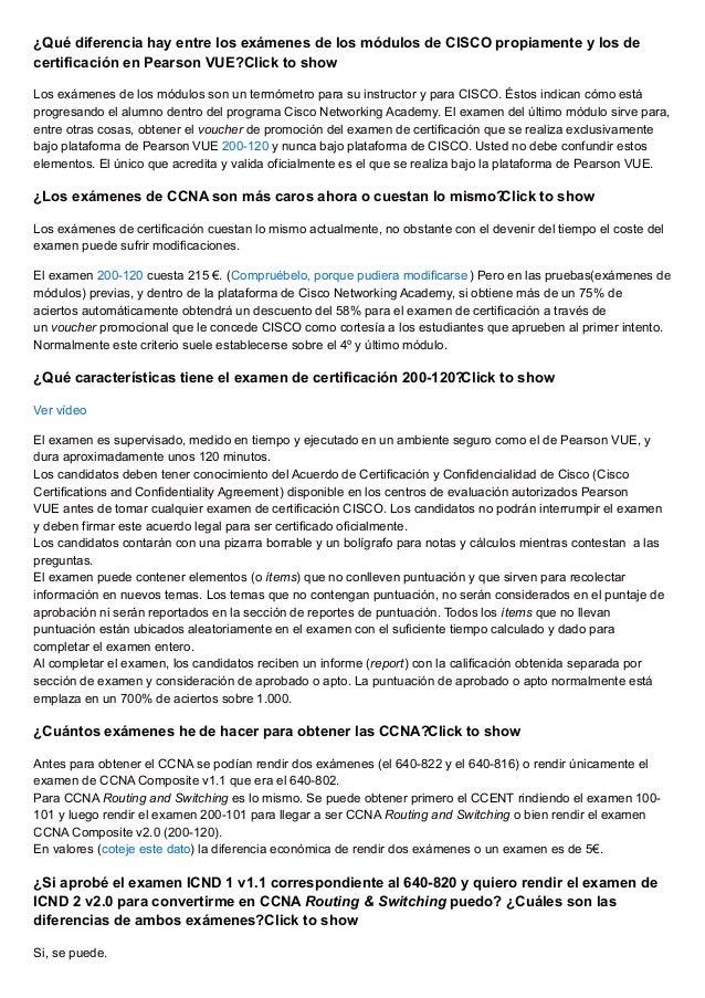 Cisco Preguntas Frecuentes Sobre El Examen 200 120 Ccna R S