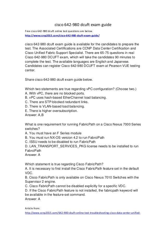 Cisco 642 980 dcuft exam guide