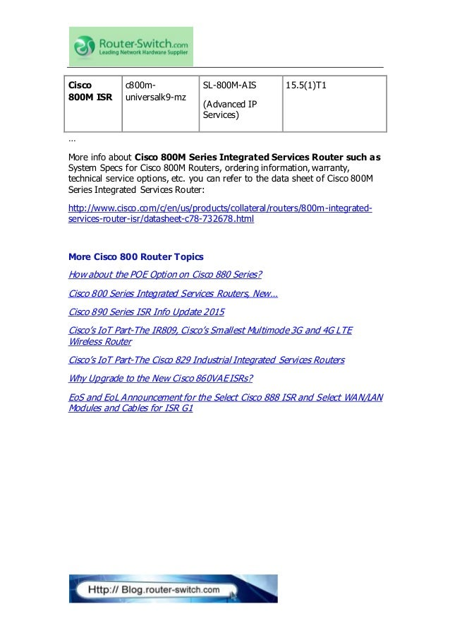 Cisco 880 series integrated services routers data sheet