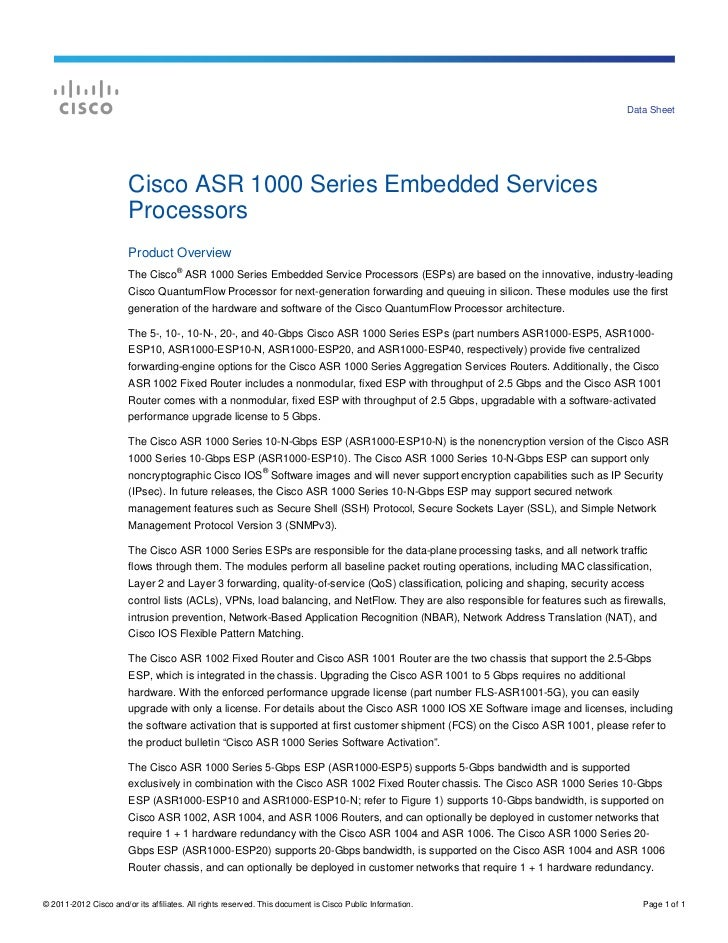 Data Sheet                        Cisco ASR 1000 Series Embedded Services                        Processors               ...