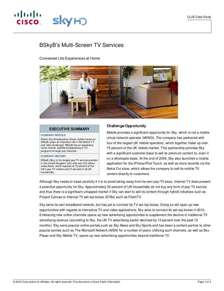 CLUE Case Study                        BSkyB's Multi-Screen TV Services                        Connected Life Experiences ...