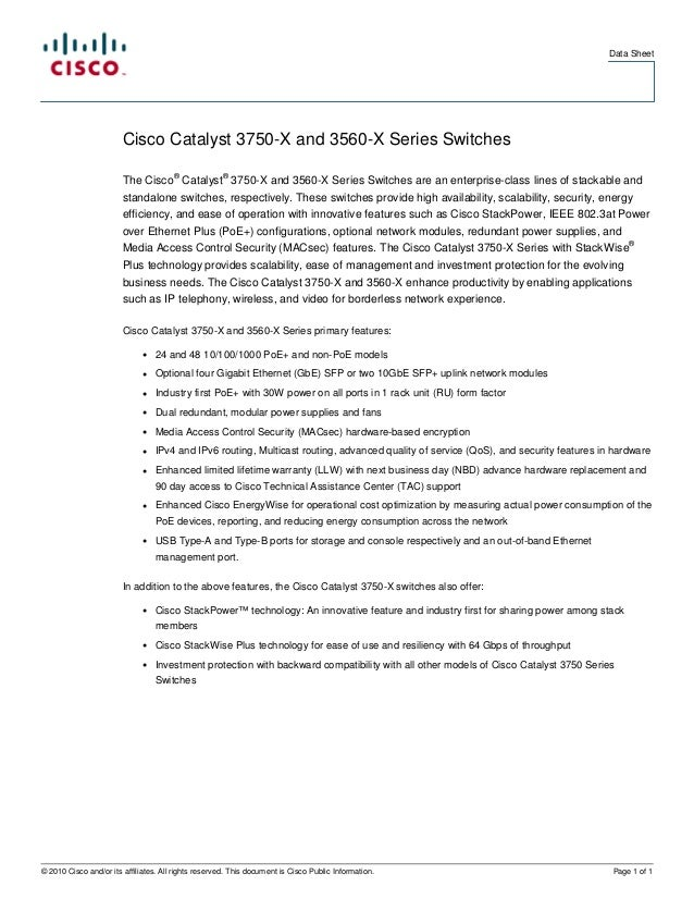 Cisco catalyst 3750 x and 3560-x series switches