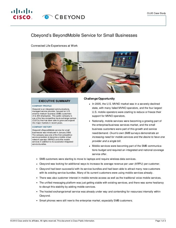 CLUE Case Study                        Cbeyond's BeyondMobile Service for Small Businesses                        Connecte...