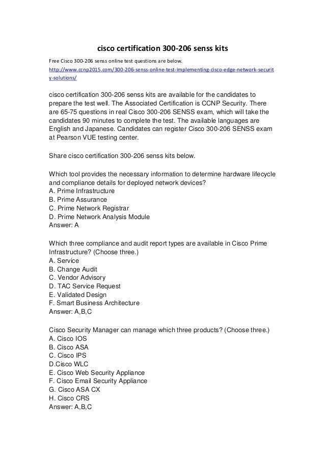 Cisco Certification 300 206 Senss Kits