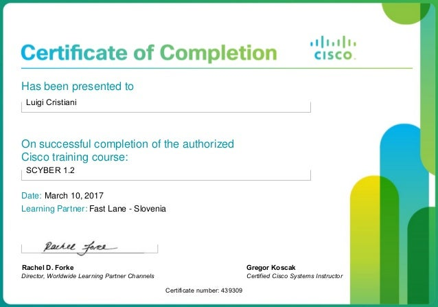 Cisco Certified Course Completion Certificate