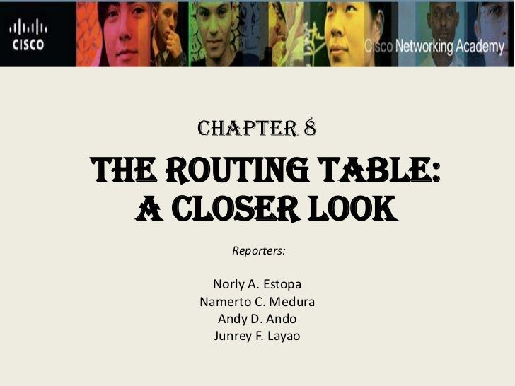 Chapter 8THE ROUTING TABLE:  A CLOSER LOOK         Reporters:       Norly A. Estopa     Namerto C. Medura        Andy D. A...