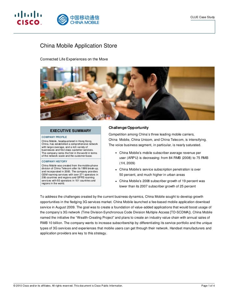 CLUE Case Study                        China Mobile Application Store                        Connected Life Experiences on...