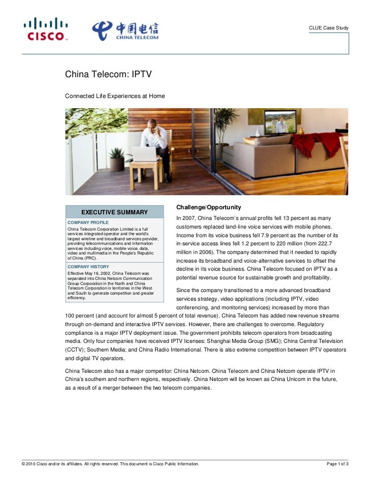 CLUE Case Study                        China Telecom: IPTV                        Connected Life Experiences at Home      ...