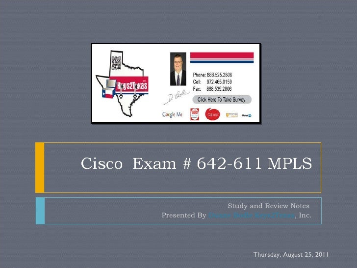 Study and Review Notes  Presented By  Duane Bodle Keys2Texas , Inc. Thursday, August 25, 2011