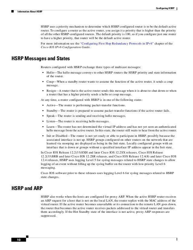 Cisco hsrp configuration